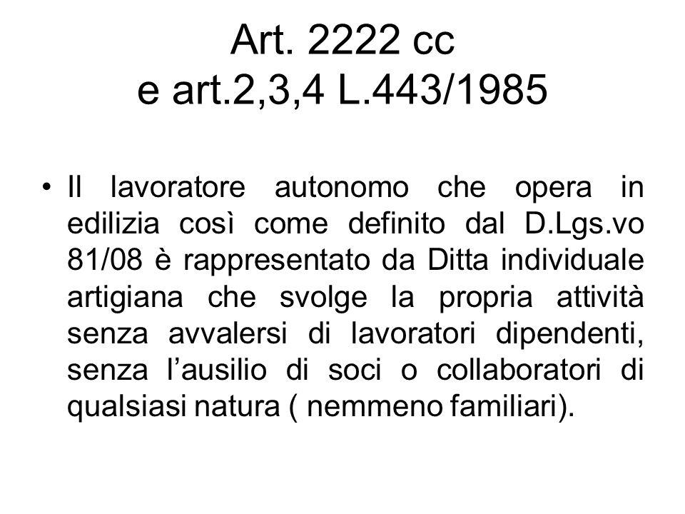 Art. 2222 cc e art.2,3,4 L.443/1985 Il lavoratore autonomo che opera in edilizia così come definito dal D.Lgs.vo 81/08 è rappresentato da Ditta indivi