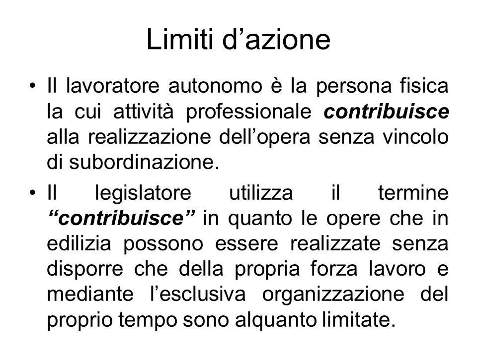 Limiti dazione Il lavoratore autonomo è la persona fisica la cui attività professionale contribuisce alla realizzazione dellopera senza vincolo di sub