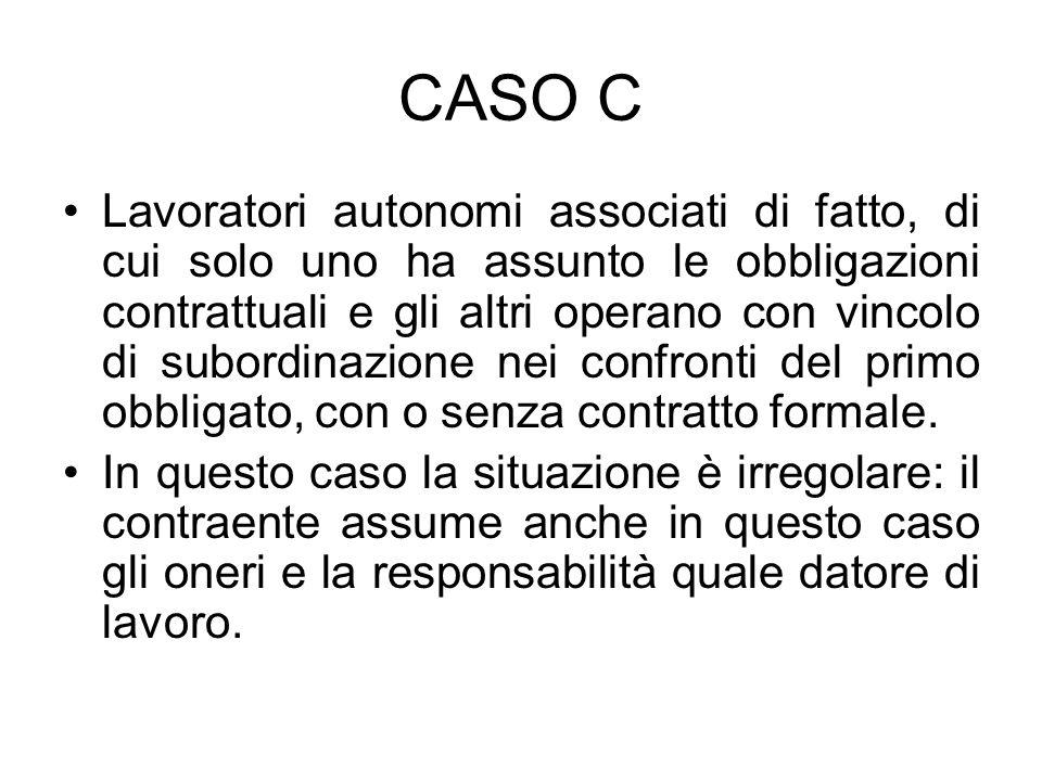 CASO C Lavoratori autonomi associati di fatto, di cui solo uno ha assunto le obbligazioni contrattuali e gli altri operano con vincolo di subordinazio