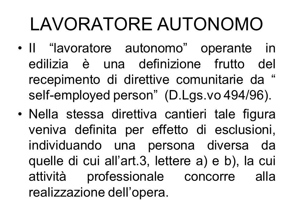 LAVORATORE AUTONOMO II lavoratore autonomo operante in edilizia è una definizione frutto del recepimento di direttive comunitarie da self-employed per