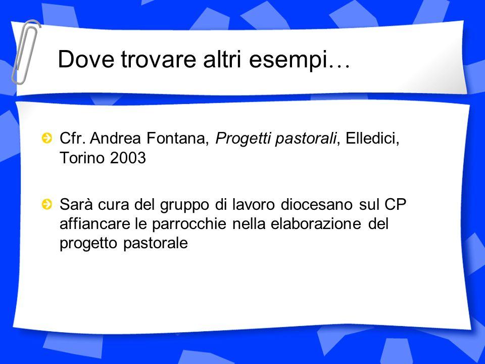 Dove trovare altri esempi … Cfr. Andrea Fontana, Progetti pastorali, Elledici, Torino 2003 Sarà cura del gruppo di lavoro diocesano sul CP affiancare