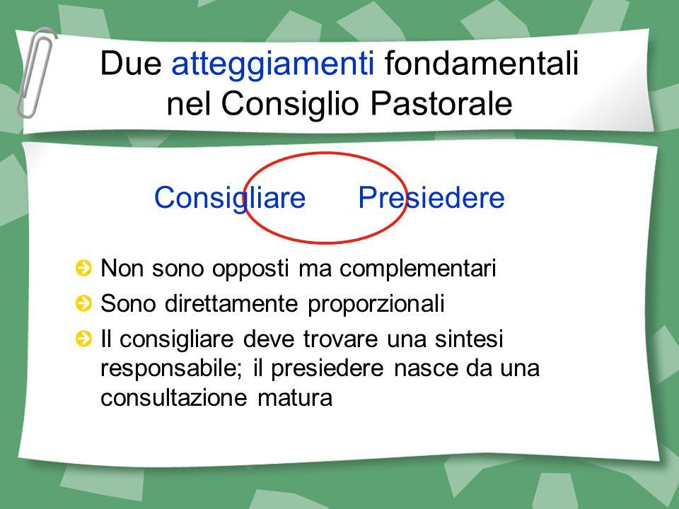 Due atteggiamenti fondamentali nel Consiglio Pastorale Non sono opposti ma complementari Sono direttamente proporzionali Il consigliare deve trovare u