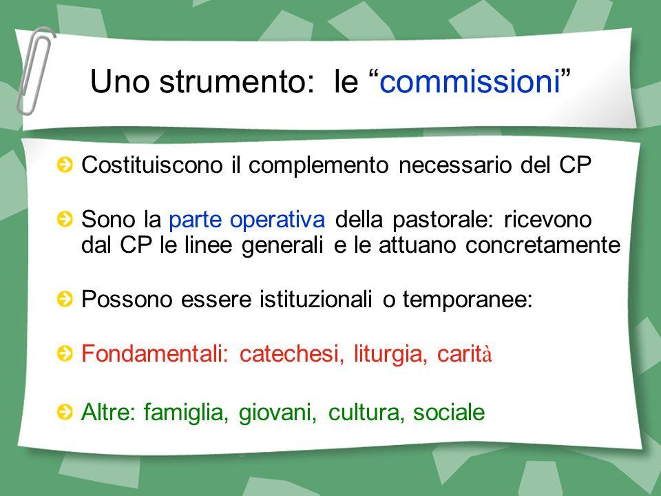 Uno strumento: le commissioni Costituiscono il complemento necessario del CP Sono la parte operativa della pastorale: ricevono dal CP le linee general