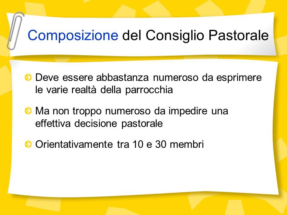 Composizione del Consiglio Pastorale Deve essere abbastanza numeroso da esprimere le varie realtà della parrocchia Ma non troppo numeroso da impedire