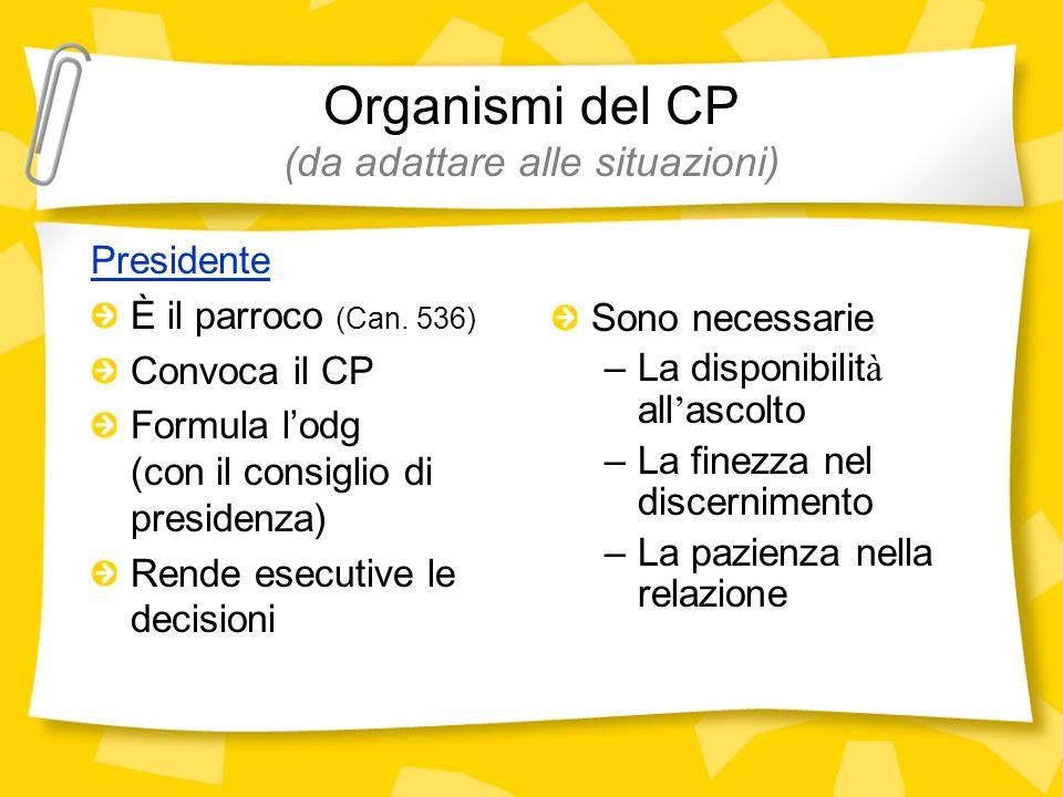 Organismi del CP (da adattare alle situazioni) Presidente È il parroco (Can. 536) Convoca il CP Formula lodg (con il consiglio di presidenza) Rende es