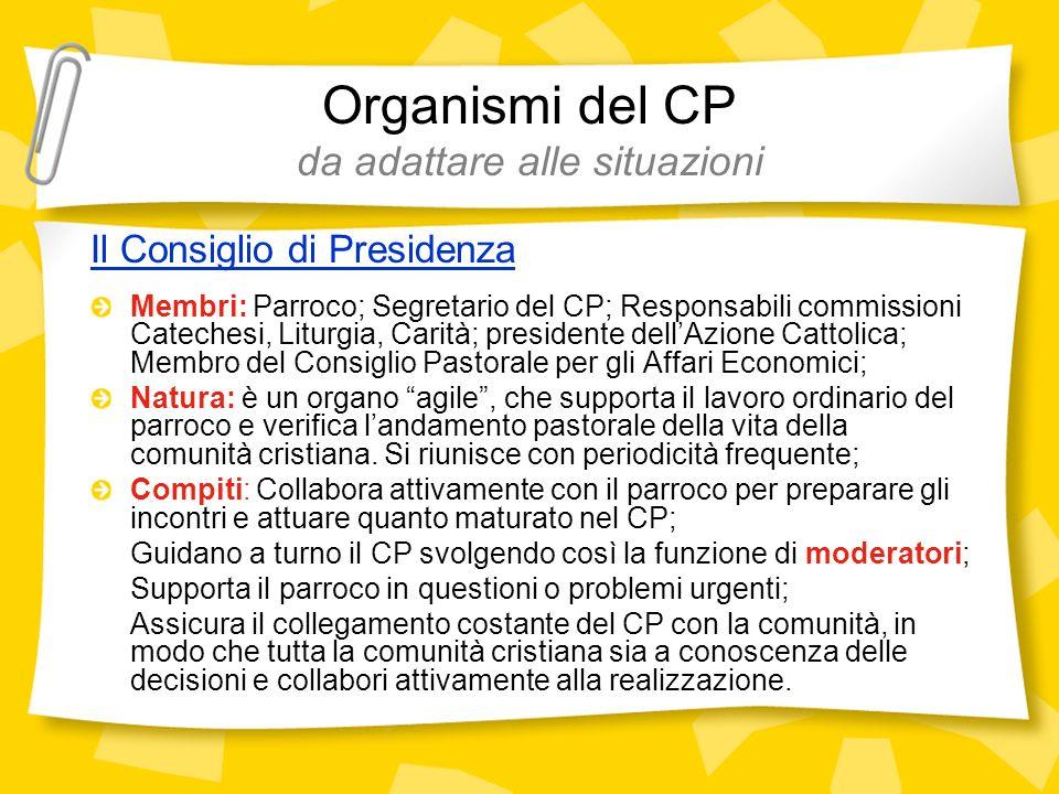 Organismi del CP da adattare alle situazioni Il Consiglio di Presidenza Membri: Parroco; Segretario del CP; Responsabili commissioni Catechesi, Liturg