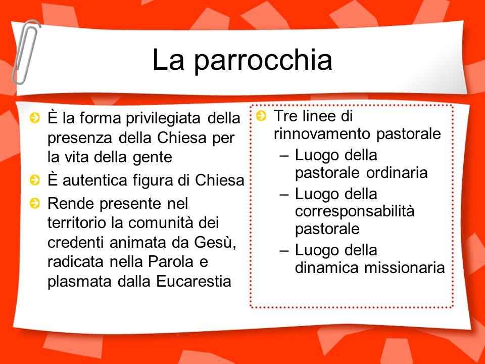 La parrocchia È la forma privilegiata della presenza della Chiesa per la vita della gente È autentica figura di Chiesa Rende presente nel territorio l