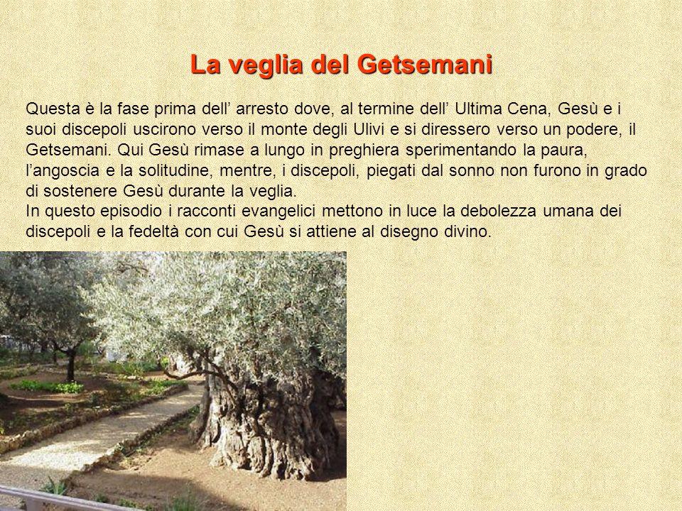 La veglia del Getsemani Questa è la fase prima dell arresto dove, al termine dell Ultima Cena, Gesù e i suoi discepoli uscirono verso il monte degli U