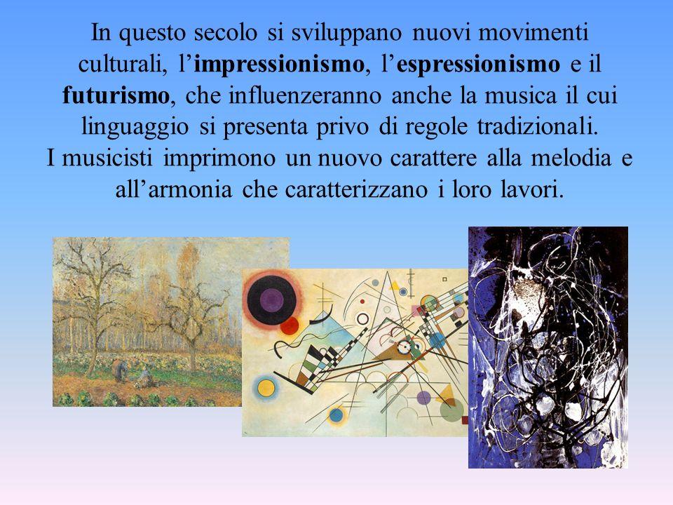 In questo secolo si sviluppano nuovi movimenti culturali, limpressionismo, lespressionismo e il futurismo, che influenzeranno anche la musica il cui l