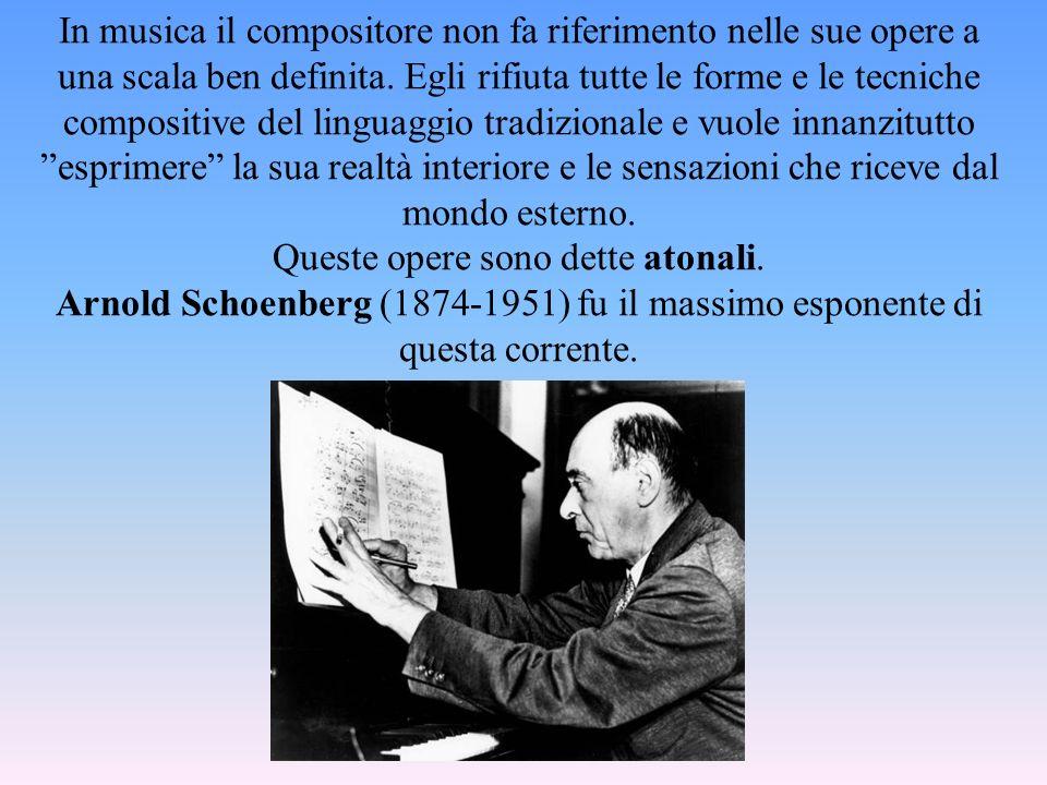In musica il compositore non fa riferimento nelle sue opere a una scala ben definita. Egli rifiuta tutte le forme e le tecniche compositive del lingua