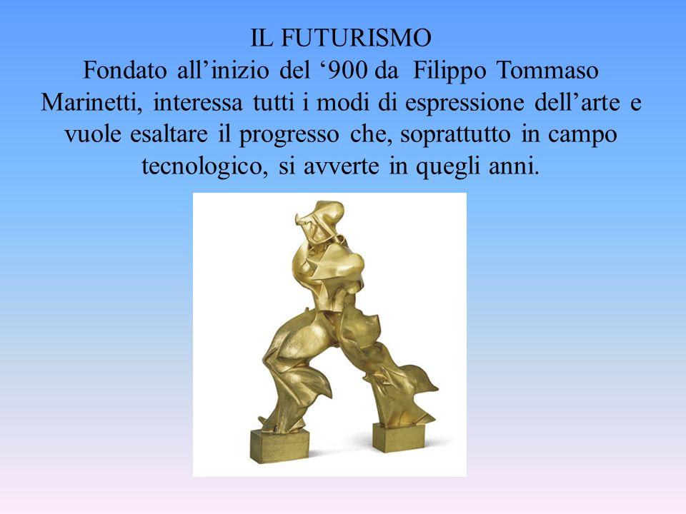 IL FUTURISMO Fondato allinizio del 900 da Filippo Tommaso Marinetti, interessa tutti i modi di espressione dellarte e vuole esaltare il progresso che,