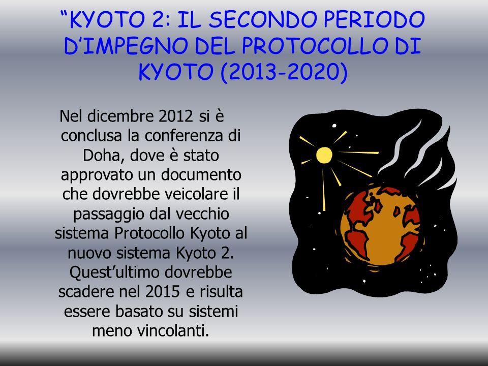 KYOTO 2: IL SECONDO PERIODO DIMPEGNO DEL PROTOCOLLO DI KYOTO (2013-2020) Nel dicembre 2012 si è conclusa la conferenza di Doha, dove è stato approvato