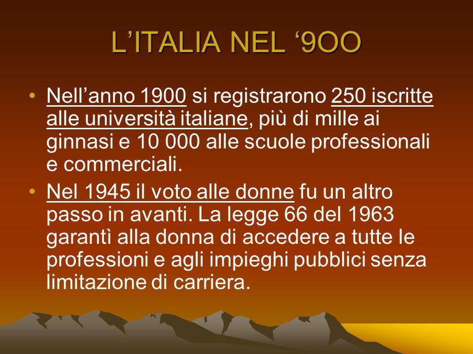 LITALIA NEL 9OO Nellanno 1900 si registrarono 250 iscritte alle università italiane, più di mille ai ginnasi e 10 000 alle scuole professionali e comm