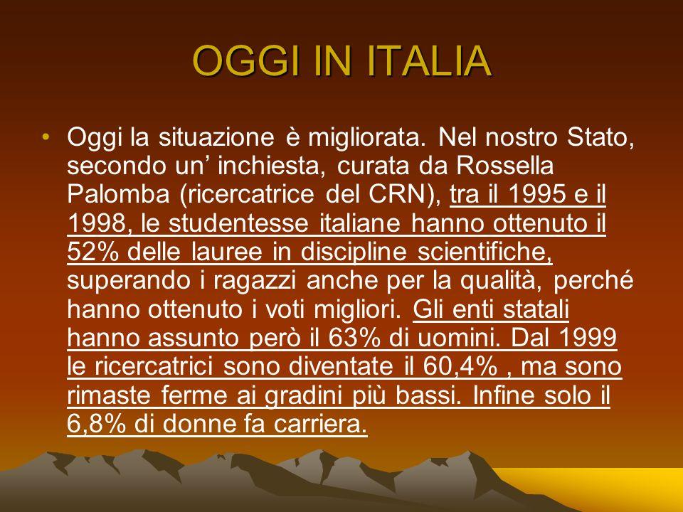 OGGI IN ITALIA Oggi la situazione è migliorata. Nel nostro Stato, secondo un inchiesta, curata da Rossella Palomba (ricercatrice del CRN), tra il 1995