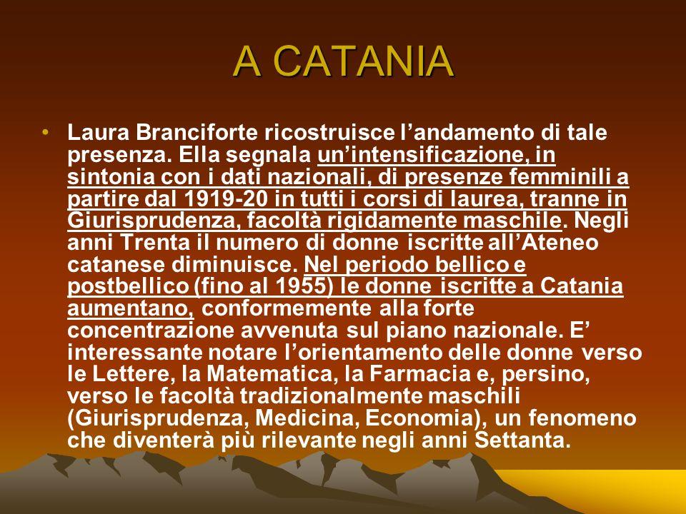 A CATANIA Laura Branciforte ricostruisce landamento di tale presenza. Ella segnala unintensificazione, in sintonia con i dati nazionali, di presenze f