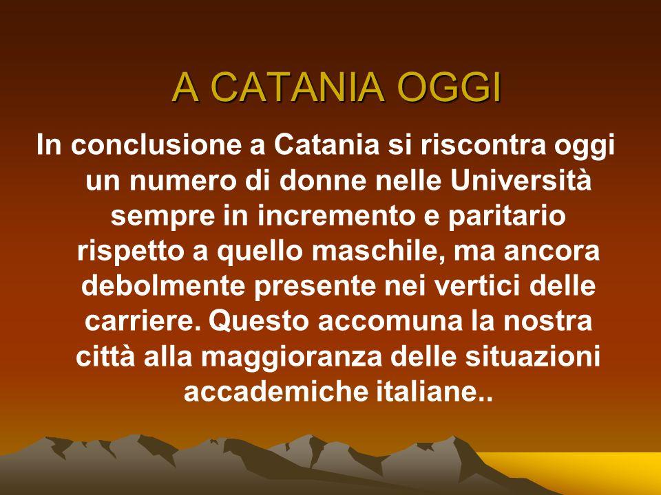 A CATANIA OGGI In conclusione a Catania si riscontra oggi un numero di donne nelle Università sempre in incremento e paritario rispetto a quello masch