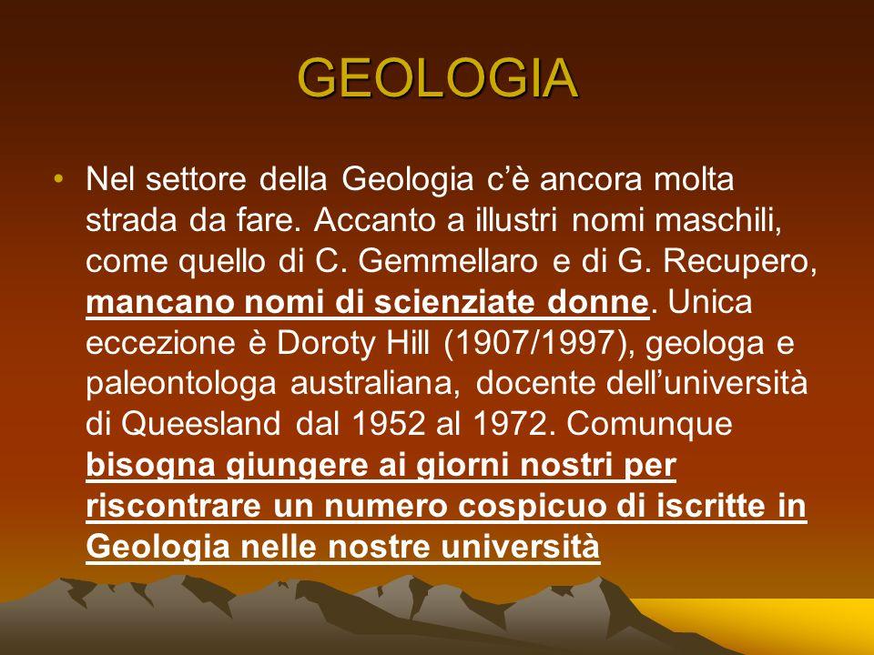 GEOLOGIA Nel settore della Geologia cè ancora molta strada da fare. Accanto a illustri nomi maschili, come quello di C. Gemmellaro e di G. Recupero, m