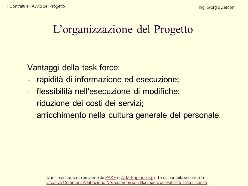 Vantaggi della task force: - rapidità di informazione ed esecuzione; - flessibilità nellesecuzione di modifiche; - riduzione dei costi dei servizi; -
