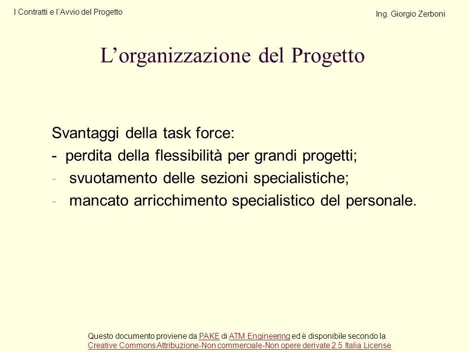 Svantaggi della task force: - perdita della flessibilità per grandi progetti; - svuotamento delle sezioni specialistiche; - mancato arricchimento spec
