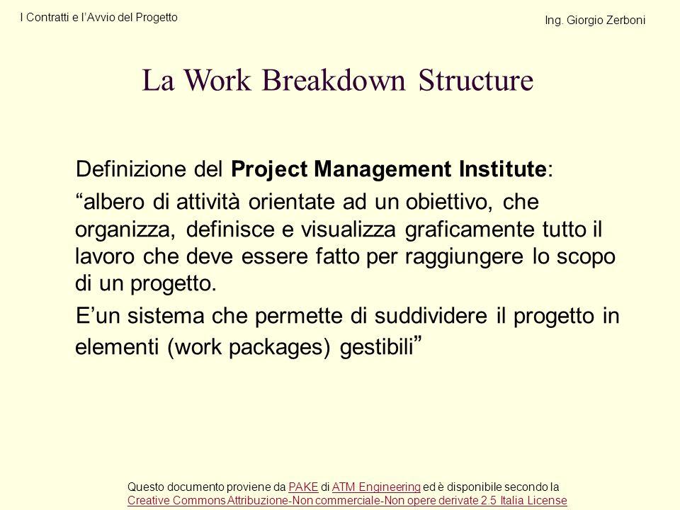 Definizione del Project Management Institute: albero di attività orientate ad un obiettivo, che organizza, definisce e visualizza graficamente tutto i