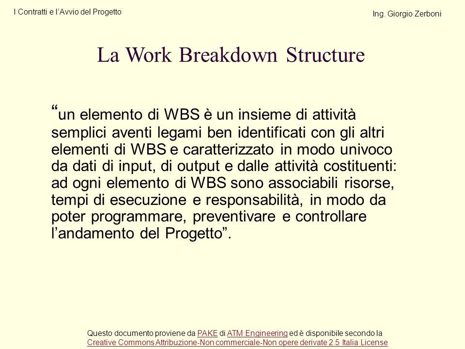 un elemento di WBS è un insieme di attività semplici aventi legami ben identificati con gli altri elementi di WBS e caratterizzato in modo univoco da
