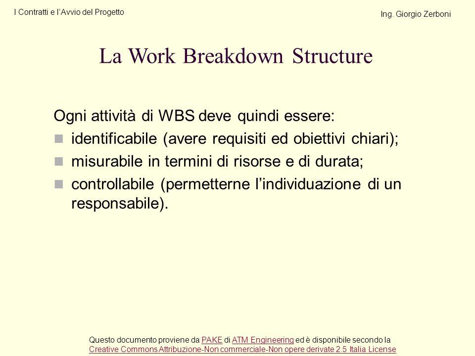 Ogni attività di WBS deve quindi essere: identificabile (avere requisiti ed obiettivi chiari); misurabile in termini di risorse e di durata; controlla