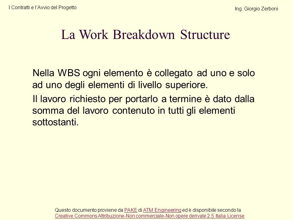 Nella WBS ogni elemento è collegato ad uno e solo ad uno degli elementi di livello superiore. Il lavoro richiesto per portarlo a termine è dato dalla