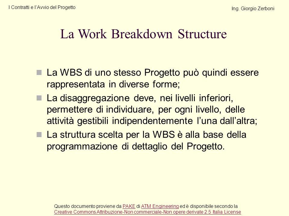 La WBS di uno stesso Progetto può quindi essere rappresentata in diverse forme; La disaggregazione deve, nei livelli inferiori, permettere di individu