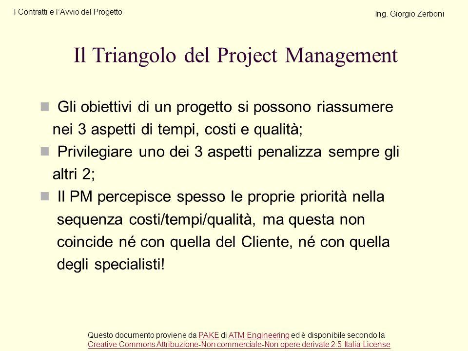 Gli obiettivi di un progetto si possono riassumere nei 3 aspetti di tempi, costi e qualità; Privilegiare uno dei 3 aspetti penalizza sempre gli altri