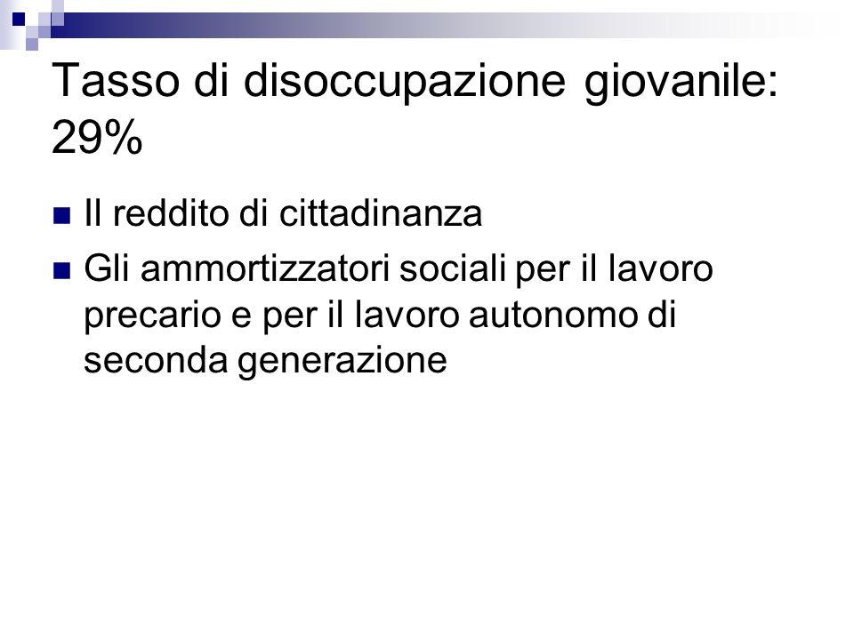 Tasso di disoccupazione giovanile: 29% Il reddito di cittadinanza Gli ammortizzatori sociali per il lavoro precario e per il lavoro autonomo di second