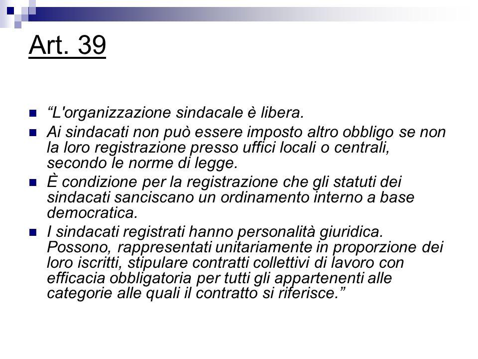 Art. 39 L'organizzazione sindacale è libera. Ai sindacati non può essere imposto altro obbligo se non la loro registrazione presso uffici locali o cen