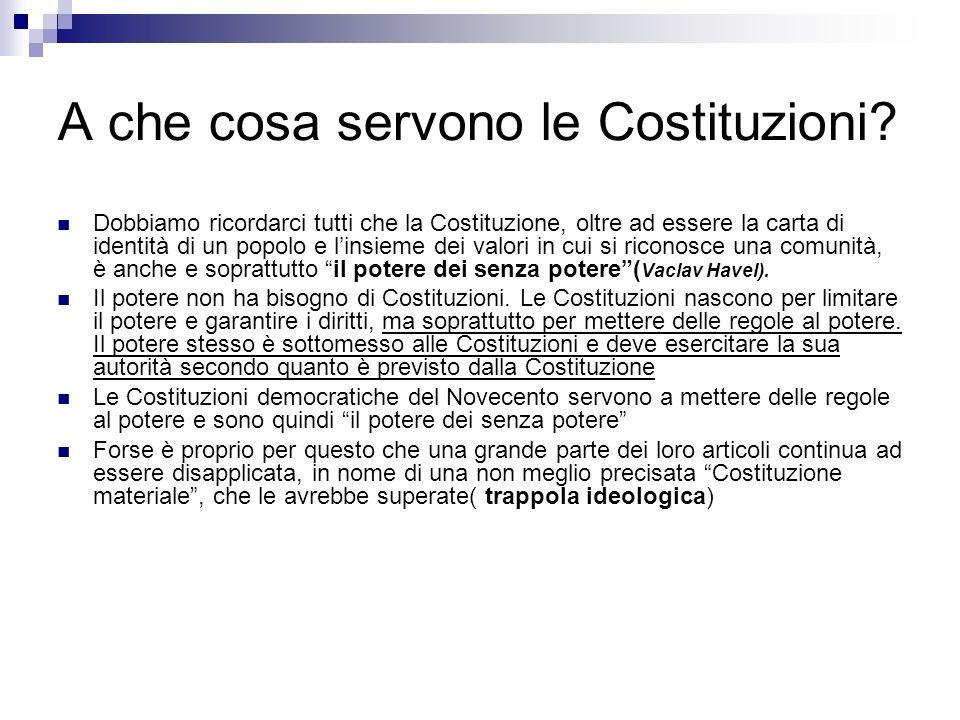I tradimenti della Costituzione 1) La nostra Costituzione non è conosciuta 2) La nostra Costituzione non si studia a scuola.