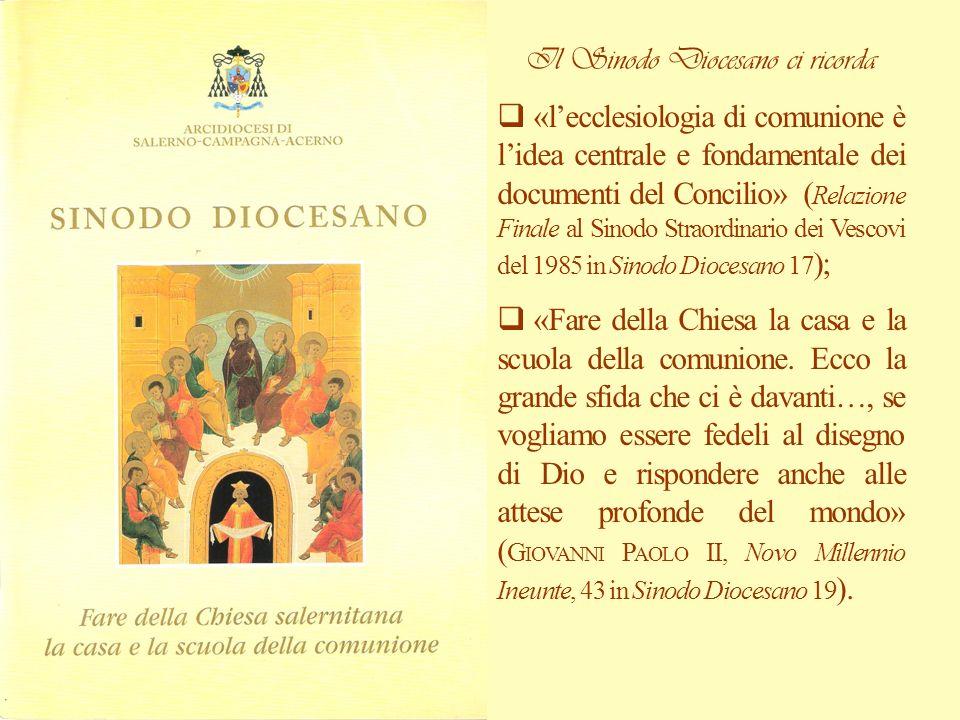 Il Sinodo Diocesano ci ricorda «lecclesiologia di comunione è lidea centrale e fondamentale dei documenti del Concilio» ( Relazione Finale al Sinodo S