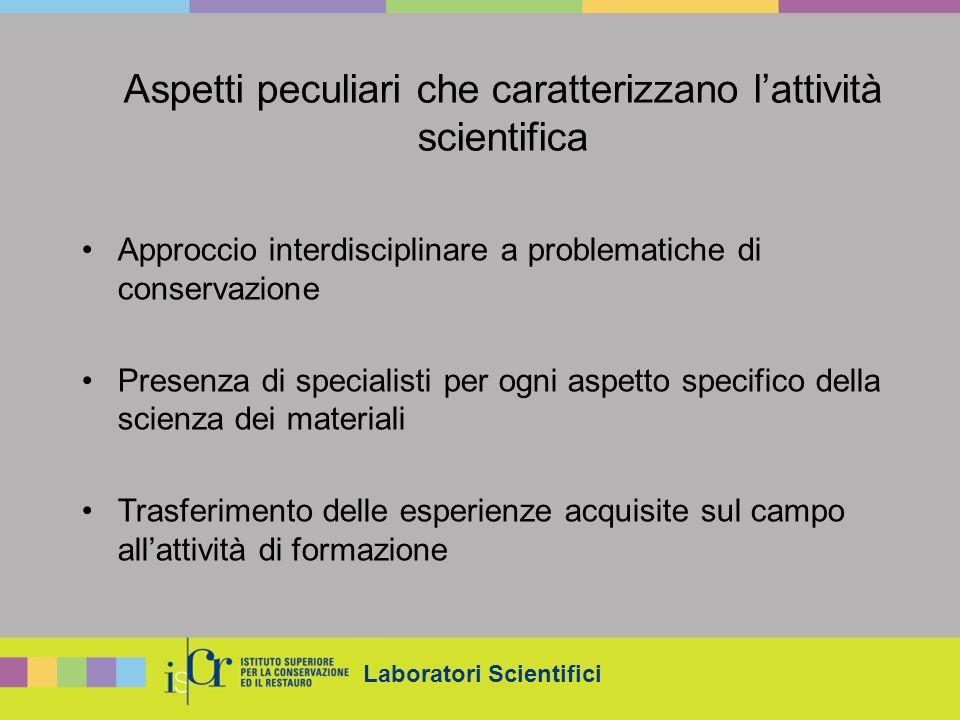 Laboratori Scientifici Aspetti peculiari che caratterizzano lattività scientifica Approccio interdisciplinare a problematiche di conservazione Presenz