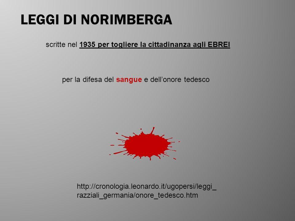 LEGGI DI NORIMBERGA scritte nel 1935 per togliere la cittadinanza agli EBREI per la difesa del sangue e dellonore tedesco http://cronologia.leonardo.i