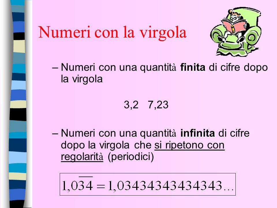 Ogni NUMERO RAZIONALE si può scrivere sotto forma di numero decimale, cioè come numero con la virgola del sistema di numerazione a base 10. ESEMPI: nu