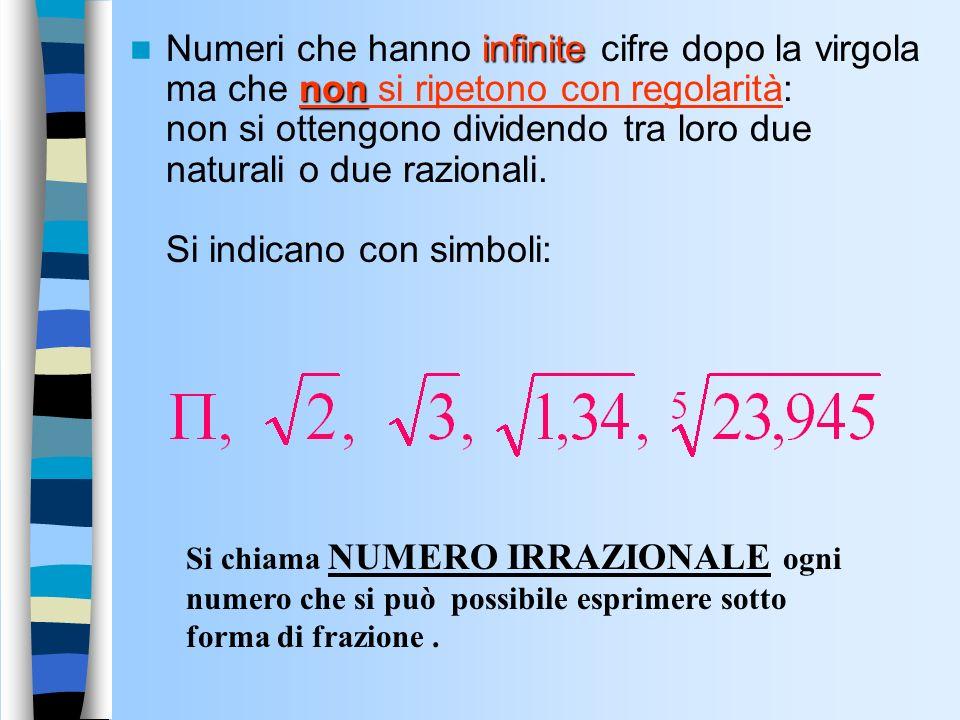 Numeri con la virgola finita –Numeri con una quantit à finita di cifre dopo la virgola 3,2 7,23 infinita –Numeri con una quantit à infinita di cifre d