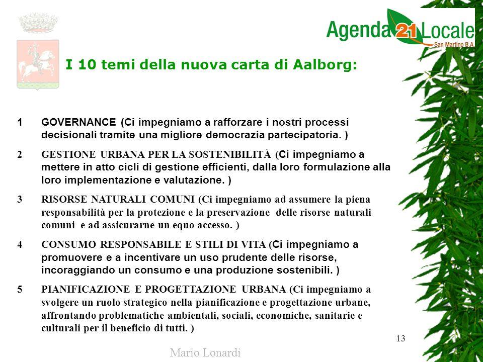 13 I 10 temi della nuova carta di Aalborg: 1 GOVERNANCE (Ci impegniamo a rafforzare i nostri processi decisionali tramite una migliore democrazia part