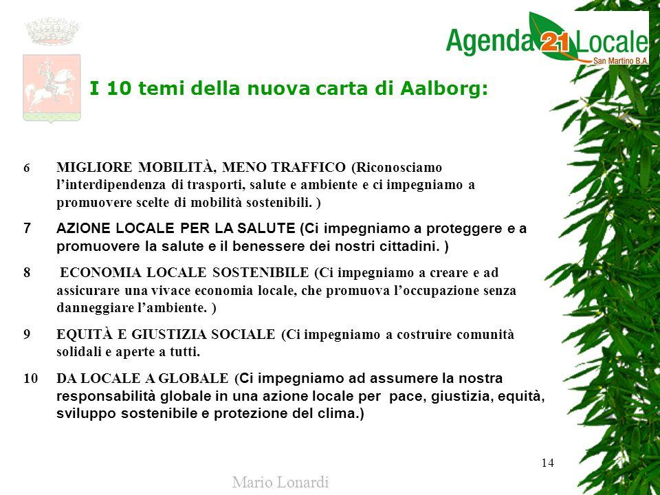 14 I 10 temi della nuova carta di Aalborg: 6 MIGLIORE MOBILITÀ, MENO TRAFFICO (Riconosciamo linterdipendenza di trasporti, salute e ambiente e ci impe