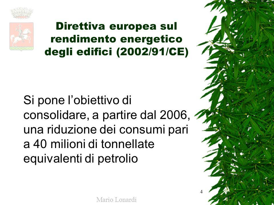 4 Direttiva europea sul rendimento energetico degli edifici (2002/91/CE) Si pone lobiettivo di consolidare, a partire dal 2006, una riduzione dei cons
