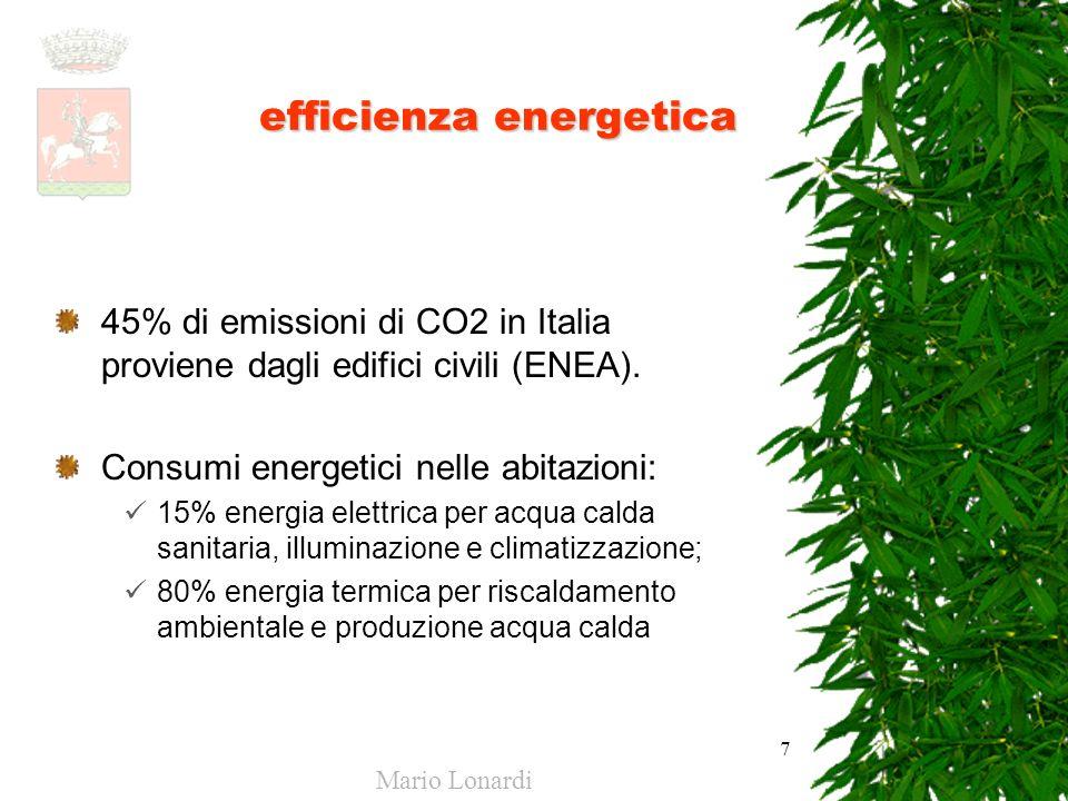 7 efficienza energetica 45% di emissioni di CO2 in Italia proviene dagli edifici civili (ENEA). Consumi energetici nelle abitazioni: 15% energia elett