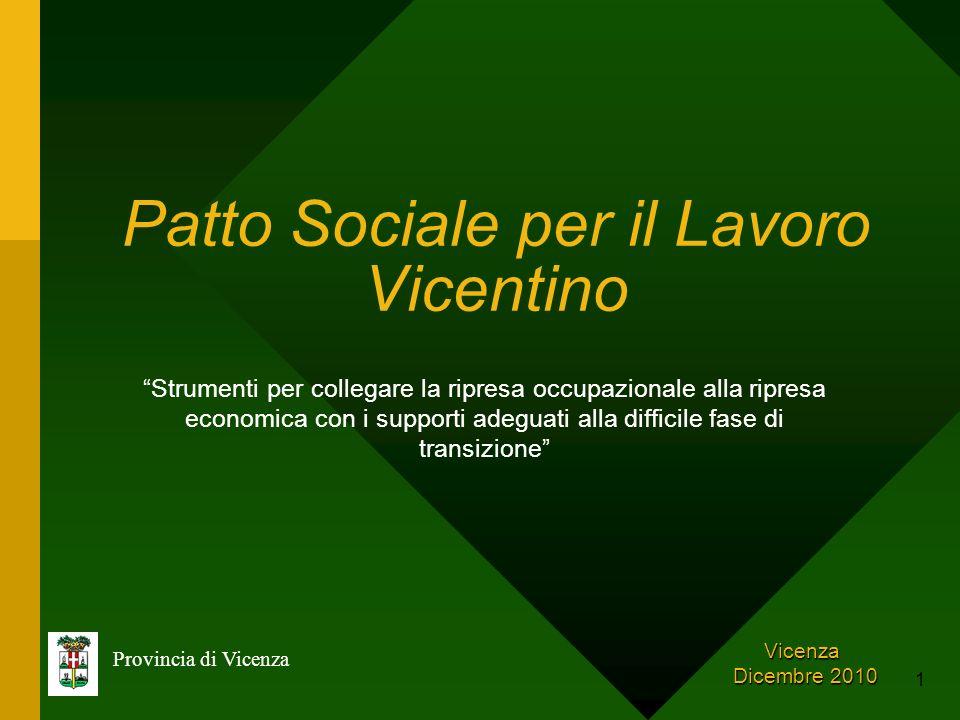 1 Patto Sociale per il Lavoro Vicentino Provincia di Vicenza Vicenza Dicembre 2010 Dicembre 2010 Strumenti per collegare la ripresa occupazionale alla
