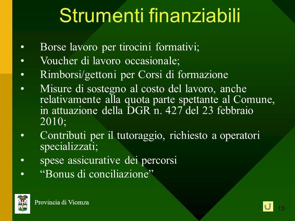 13 Provincia di Vicenza Strumenti finanziabili Borse lavoro per tirocini formativi; Voucher di lavoro occasionale; Rimborsi/gettoni per Corsi di forma