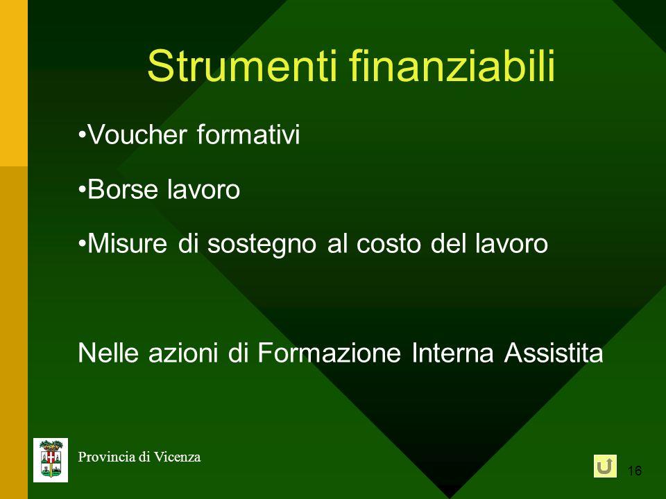 16 Provincia di Vicenza Strumenti finanziabili Voucher formativi Borse lavoro Misure di sostegno al costo del lavoro Nelle azioni di Formazione Intern