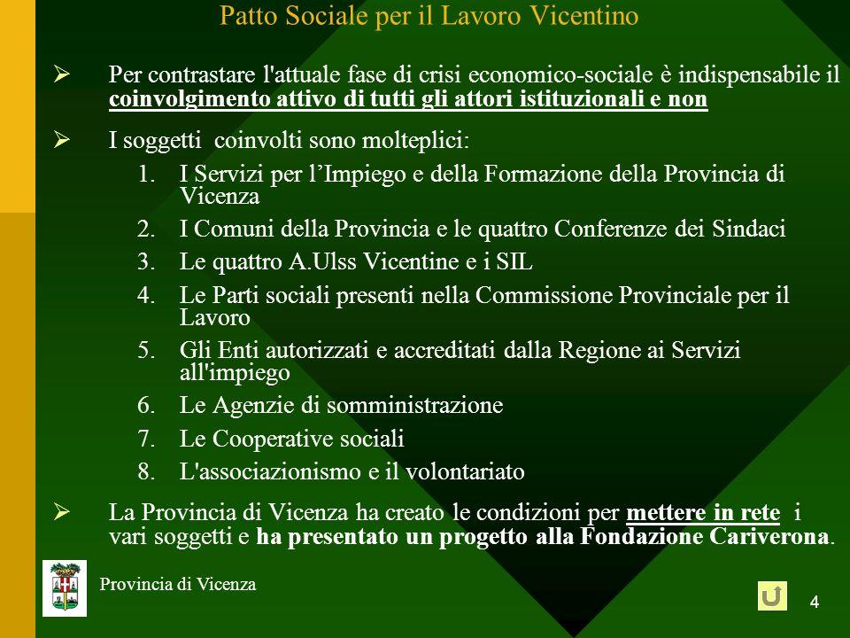 4 Provincia di Vicenza Patto Sociale per il Lavoro Vicentino Per contrastare l'attuale fase di crisi economico-sociale è indispensabile il coinvolgime