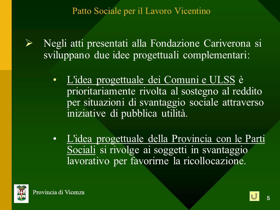 5 Provincia di Vicenza Patto Sociale per il Lavoro Vicentino Negli atti presentati alla Fondazione Cariverona si sviluppano due idee progettuali compl