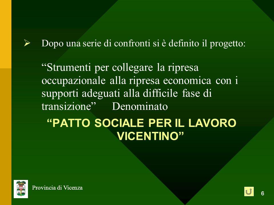 6 Provincia di Vicenza Dopo una serie di confronti si è definito il progetto: Strumenti per collegare la ripresa occupazionale alla ripresa economica