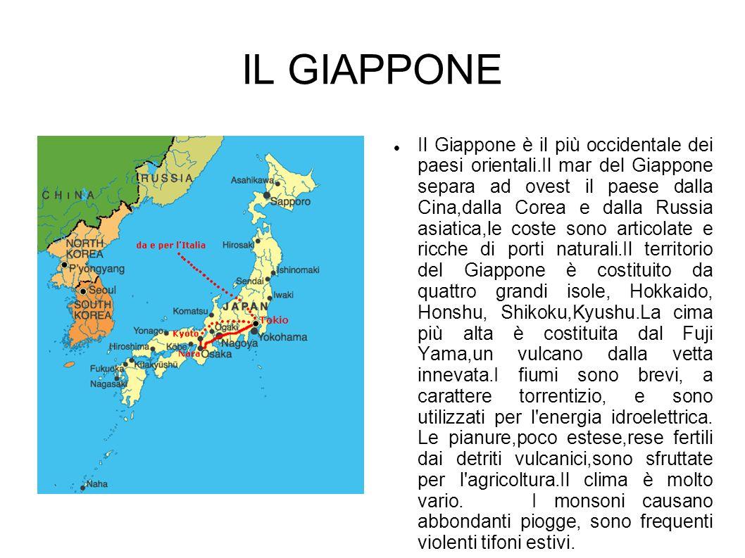 IL GIAPPONE Il Giappone è il più occidentale dei paesi orientali.Il mar del Giappone separa ad ovest il paese dalla Cina,dalla Corea e dalla Russia as