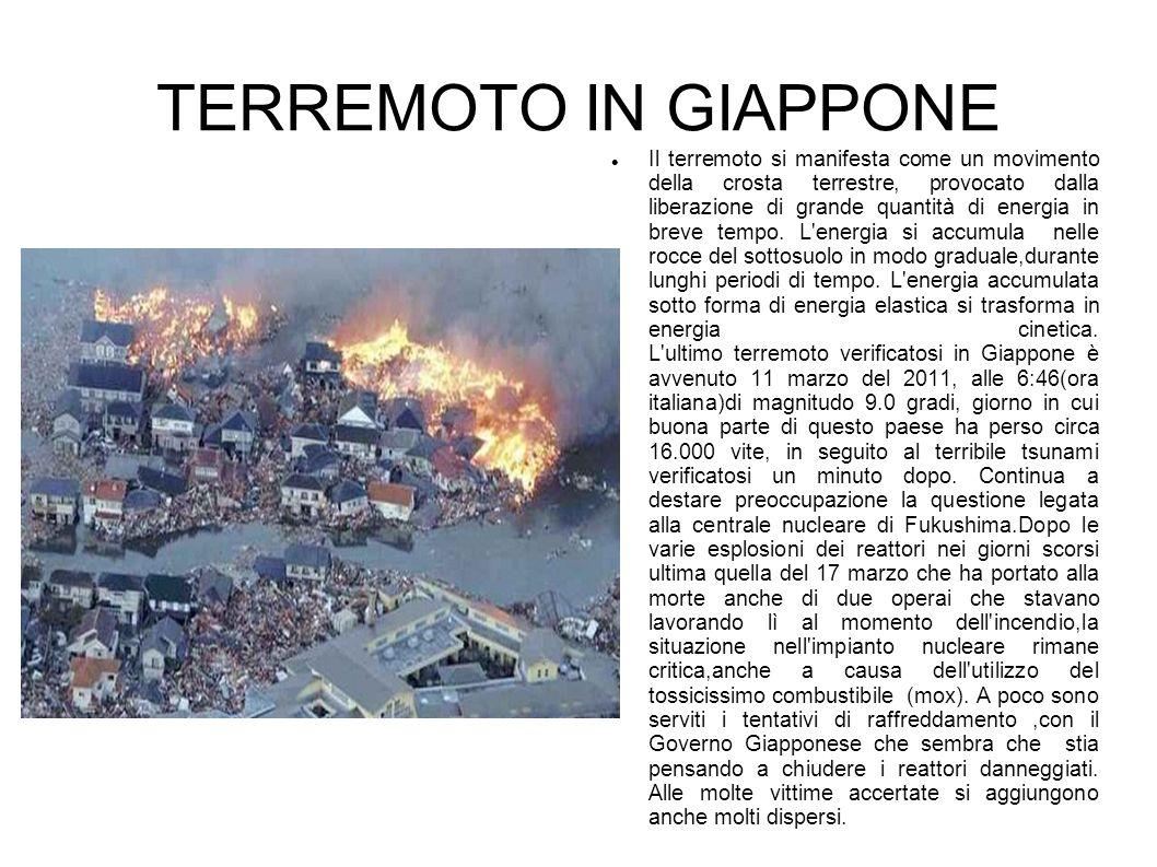TERREMOTO IN GIAPPONE Il terremoto si manifesta come un movimento della crosta terrestre, provocato dalla liberazione di grande quantità di energia in