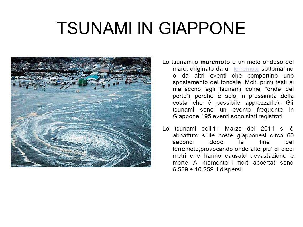 TSUNAMI IN GIAPPONE Lo tsunami,o maremoto è un moto ondoso del mare, originato da un terremoto sottomarino o da altri eventi che comportino uno sposta